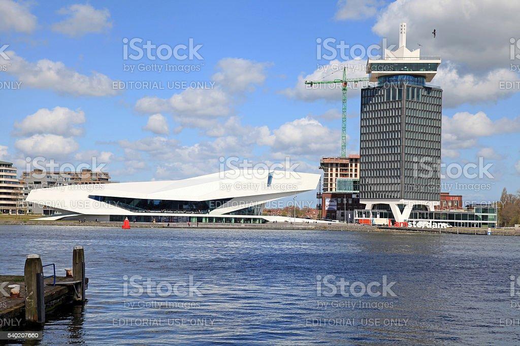 EYE Film Institute and Overhoeks Tower in Amsterdam, Netherlands stock photo