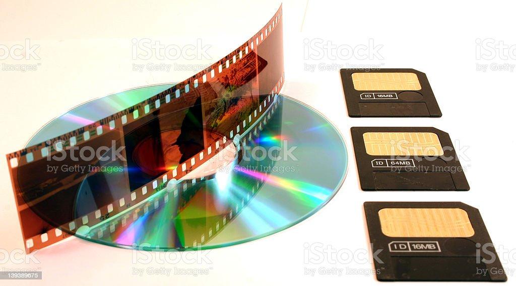 Film negatives, cd, smartmedia royalty-free stock photo