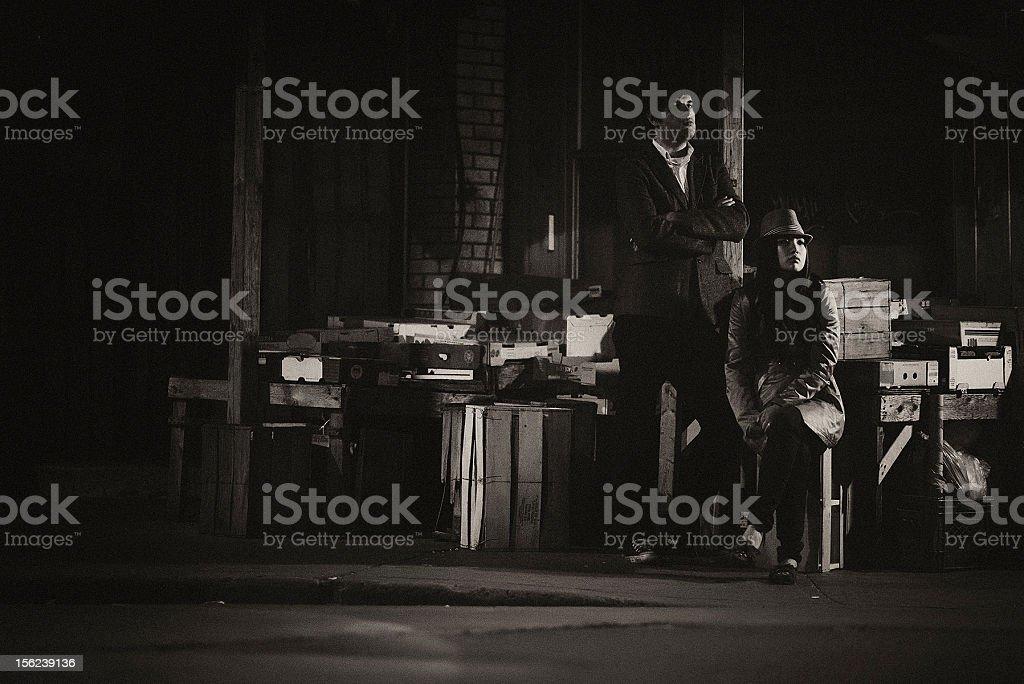 film noir couple stock photo
