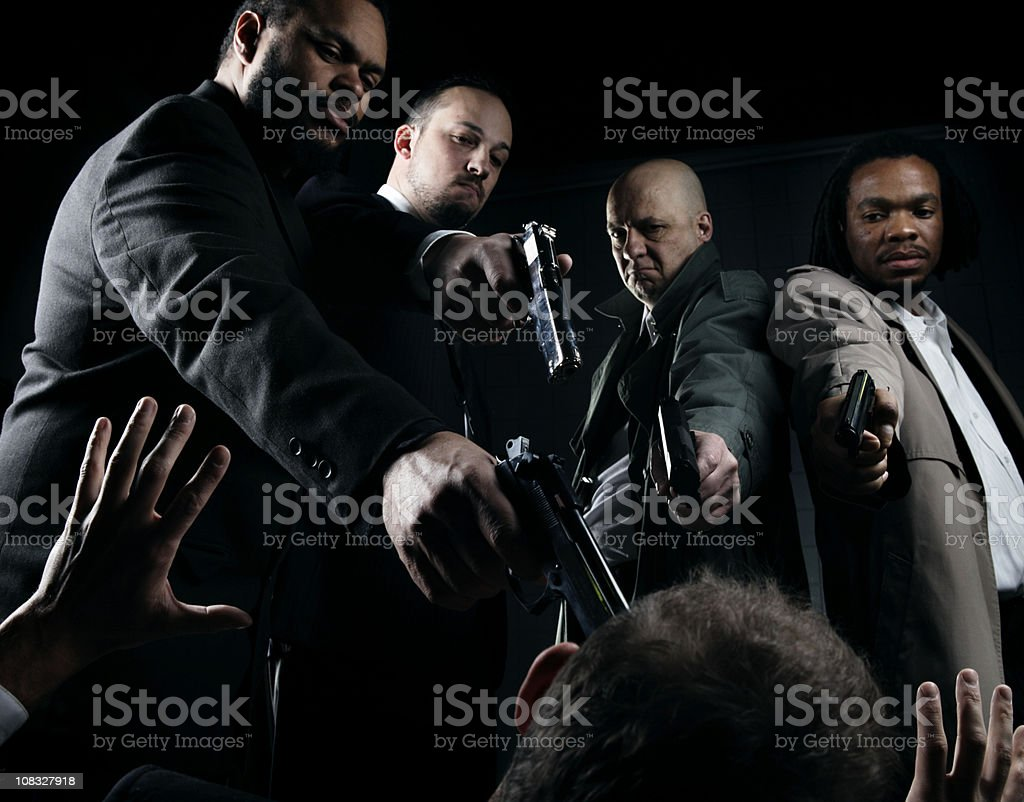 Film Noir Mafia Firing Squad royalty-free stock photo