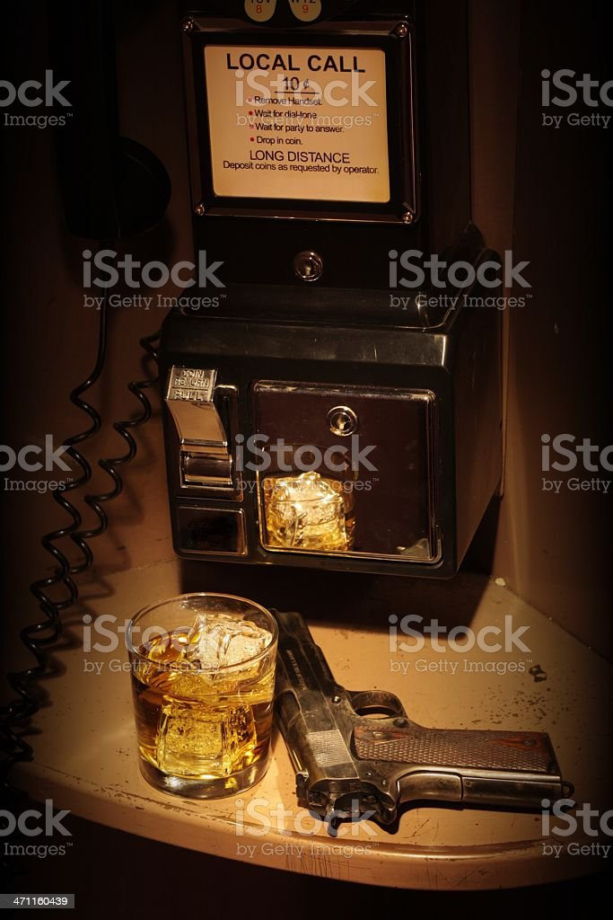 Film Noir Phone Booth - Scotch and a Fourty Five stock photo