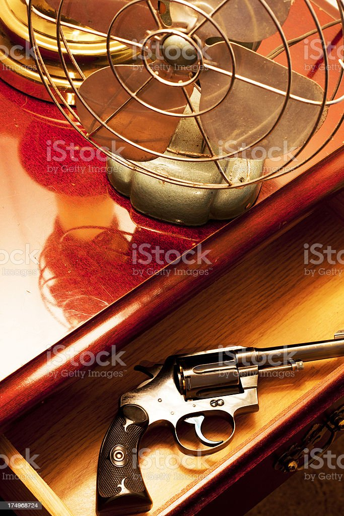 Film Noir Revolver and Fan royalty-free stock photo