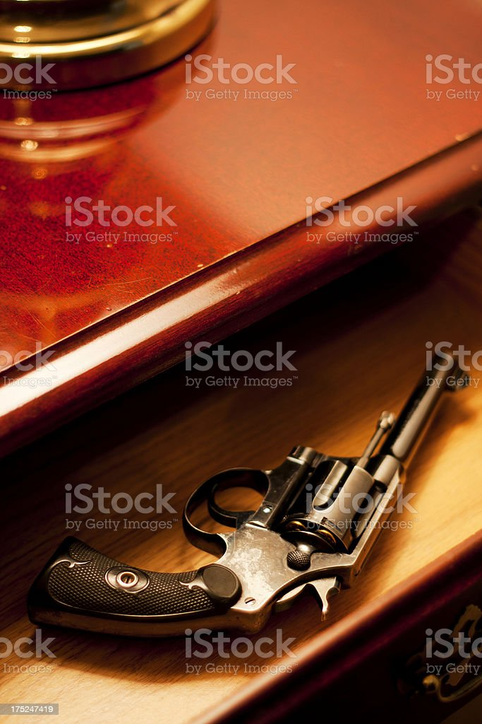 Film Noir Revolver in a Drawer stock photo