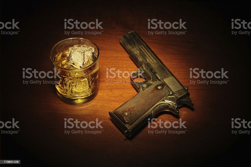 Film Noir Scotch and a Fourty Five royalty-free stock photo
