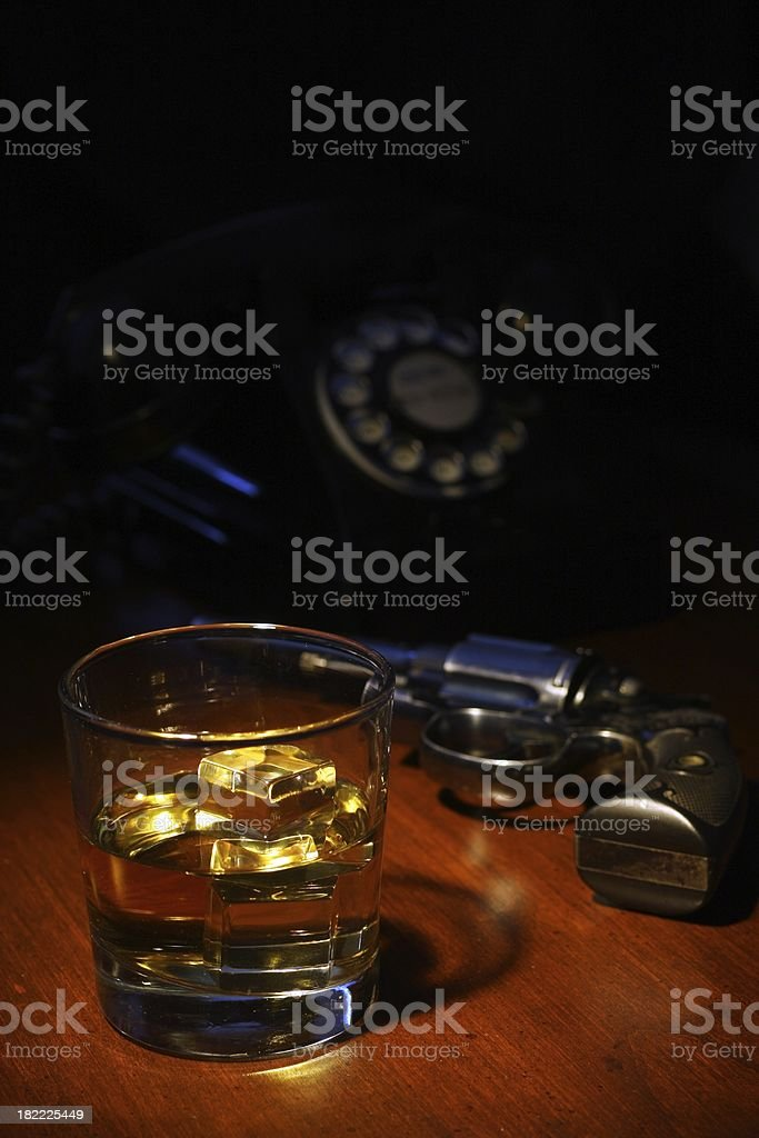 Film Noir Scotch, Revolver and a Telephone royalty-free stock photo