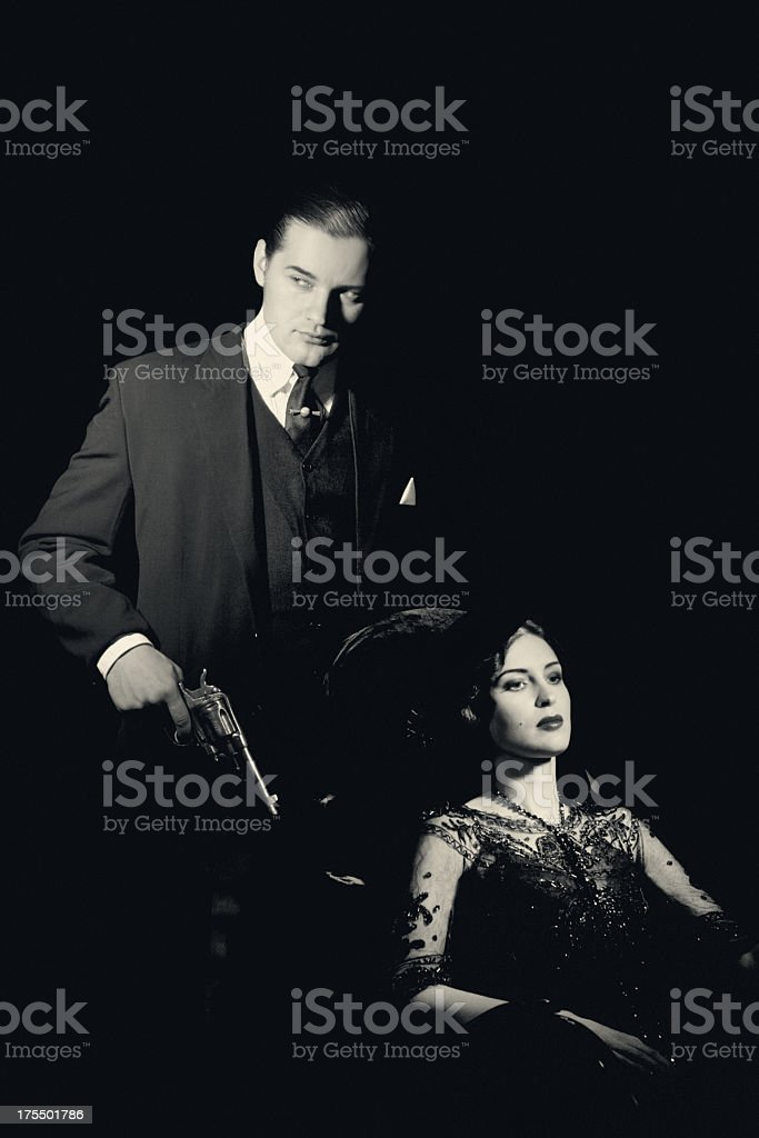 Film Noir style. Dangerous couple stock photo