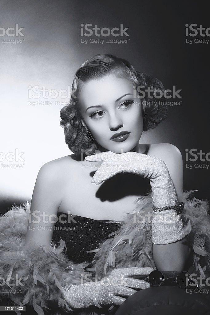 Film Noir style. Female portrait stock photo