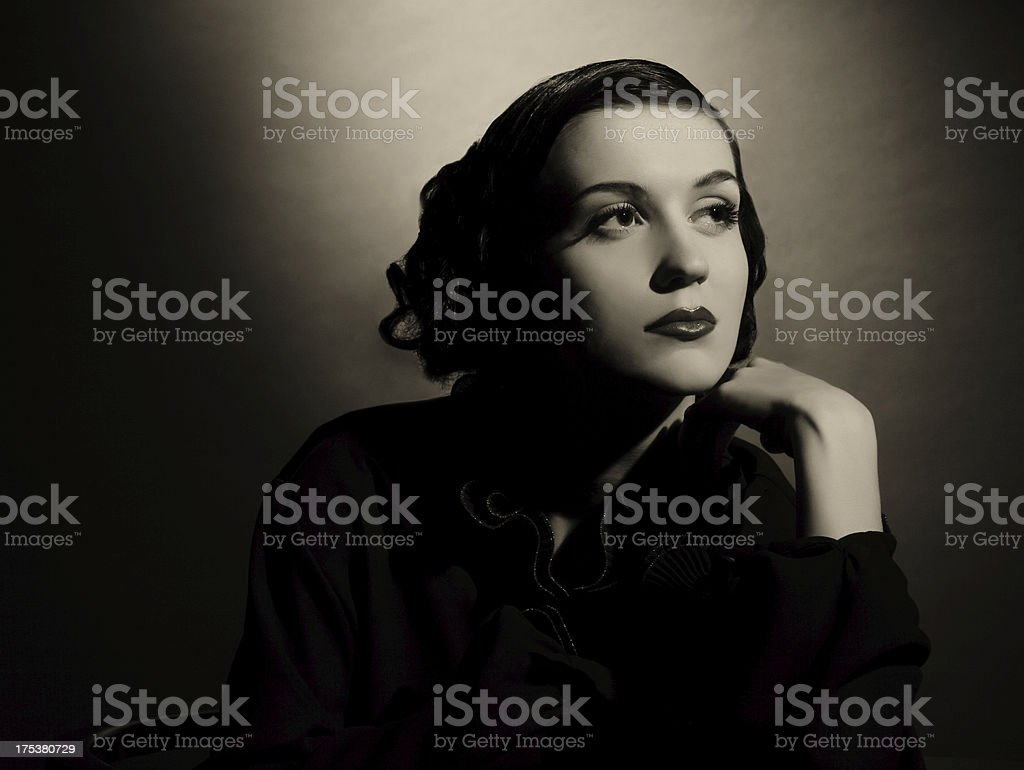 Film Noir style Female portrait stock photo