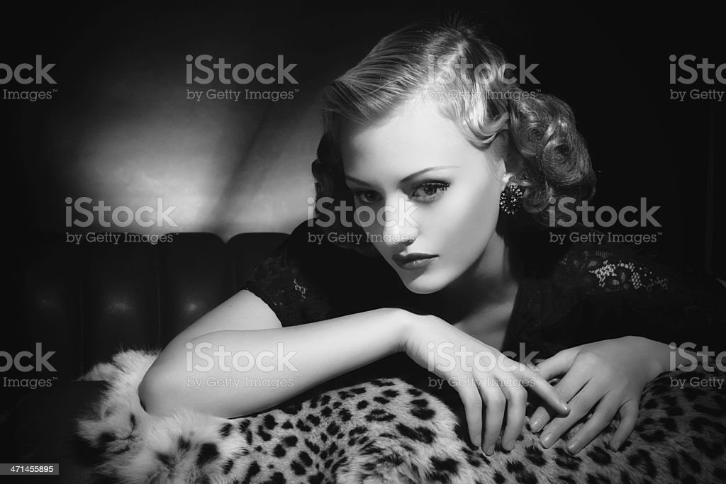 Film Noir style. Female portrait stock photo