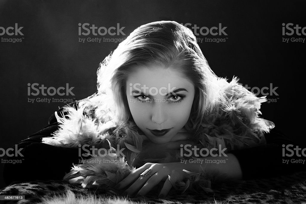 Film Noir style.Female portrait. stock photo