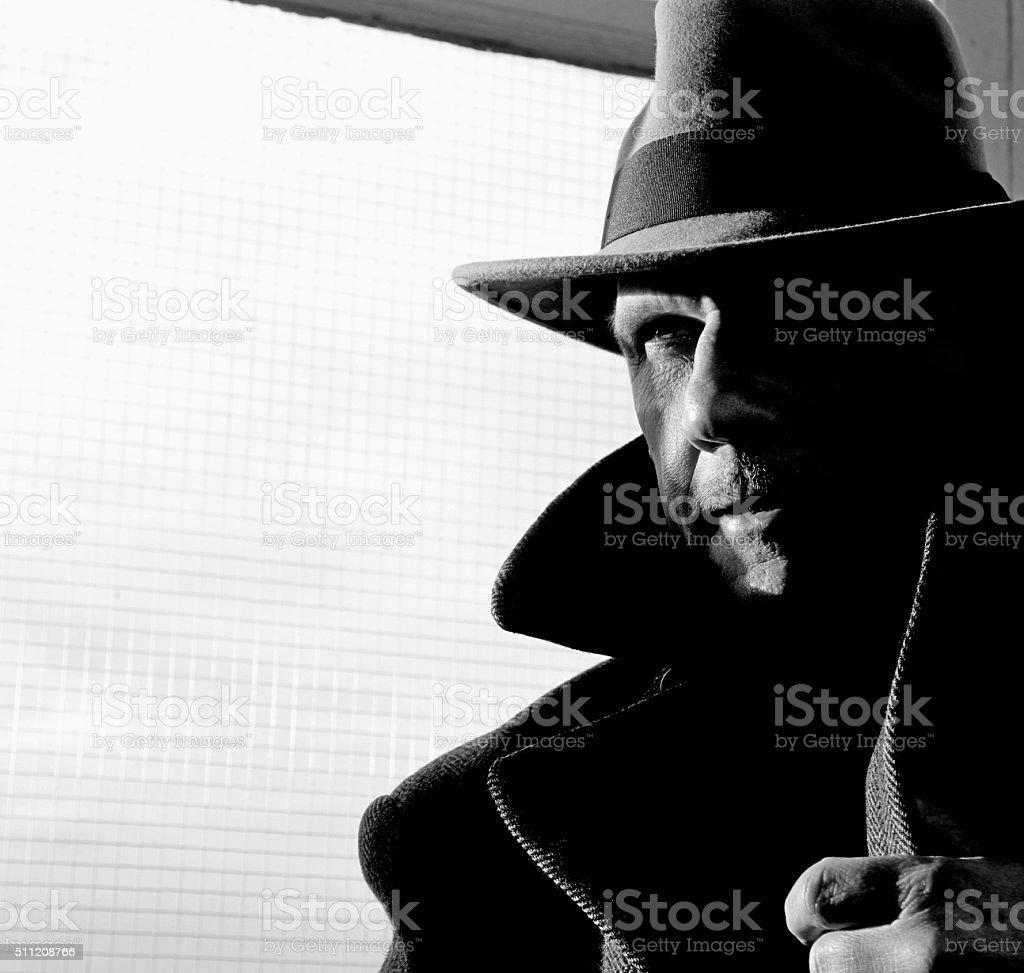 Film Noir style gangster stock photo