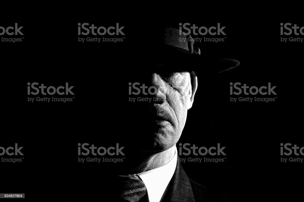 Film Noir style gangster stock photo
