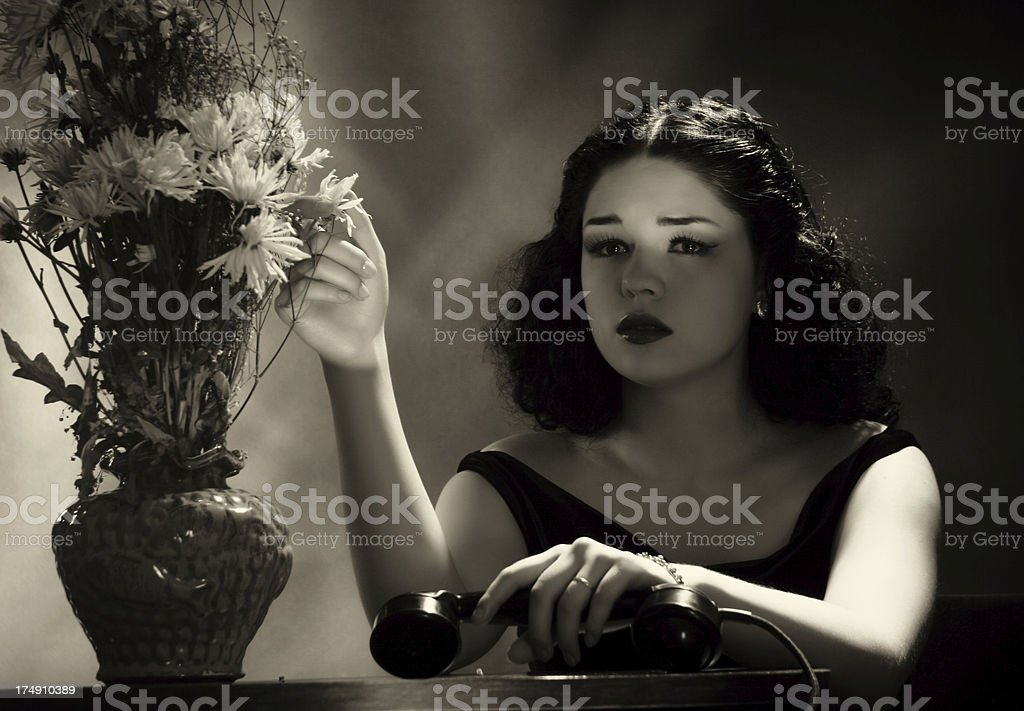 Film Noir style.He didn`t call royalty-free stock photo