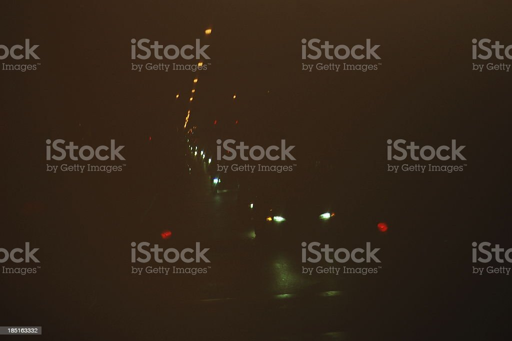 Film photograph of traffic at night royalty-free stock photo