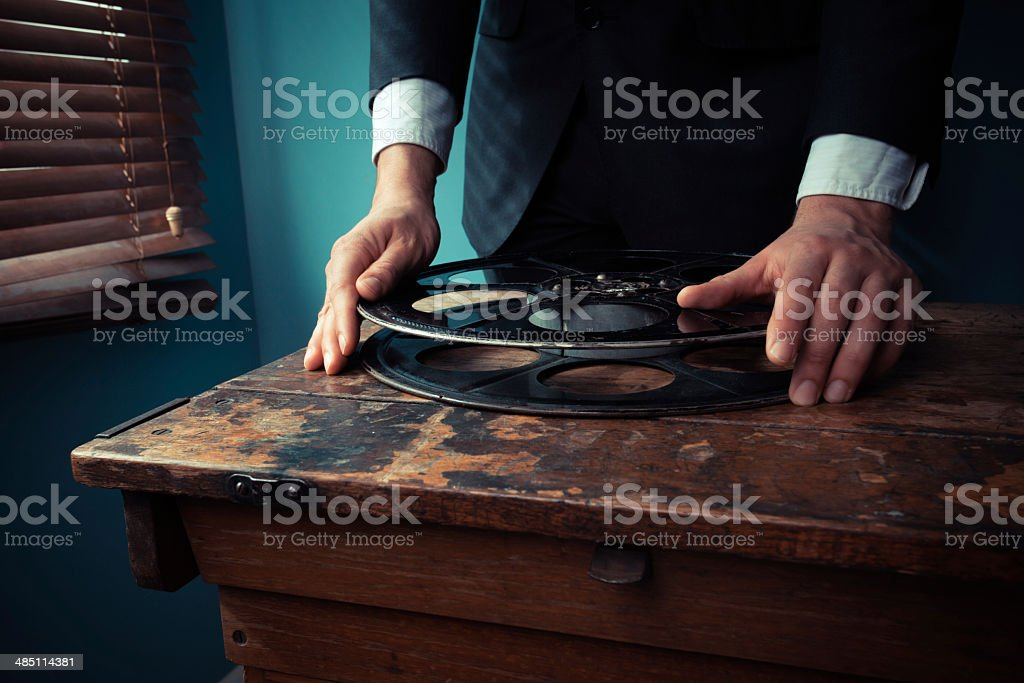 Film producer with reel stock photo