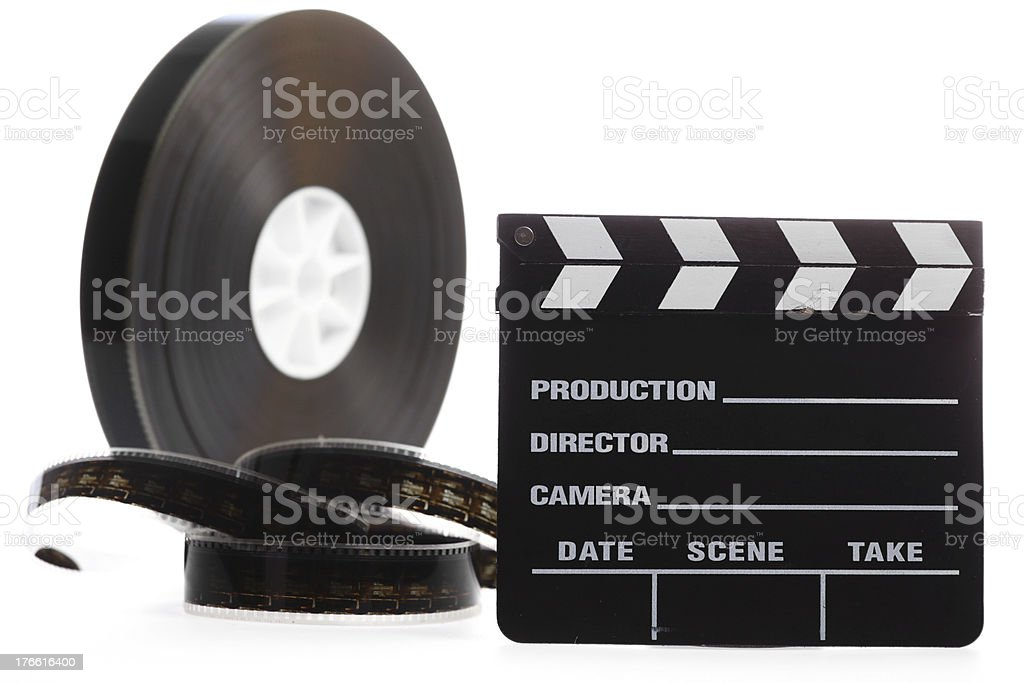 Film reel and cinema clap royalty-free stock photo