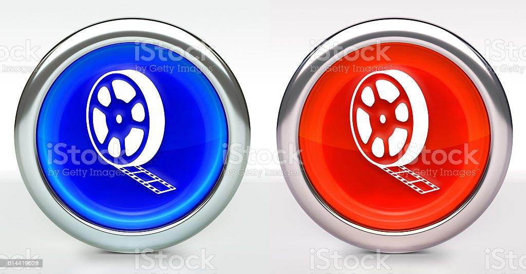 Film Reel Icon on Button with Metallic Rim stock photo