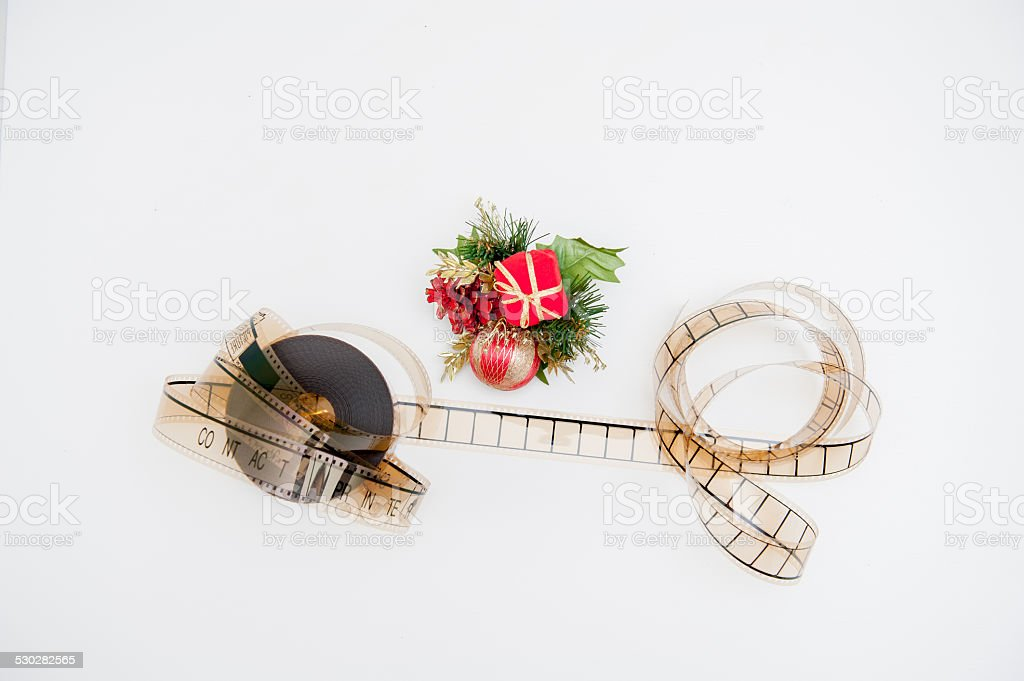 Film reel with christmas decoration stock photo
