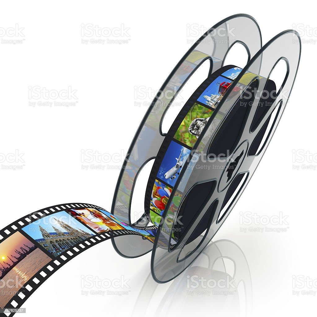 Film reel with filmstrip stock photo