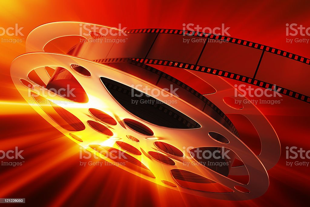 Film reel with magic light stock photo