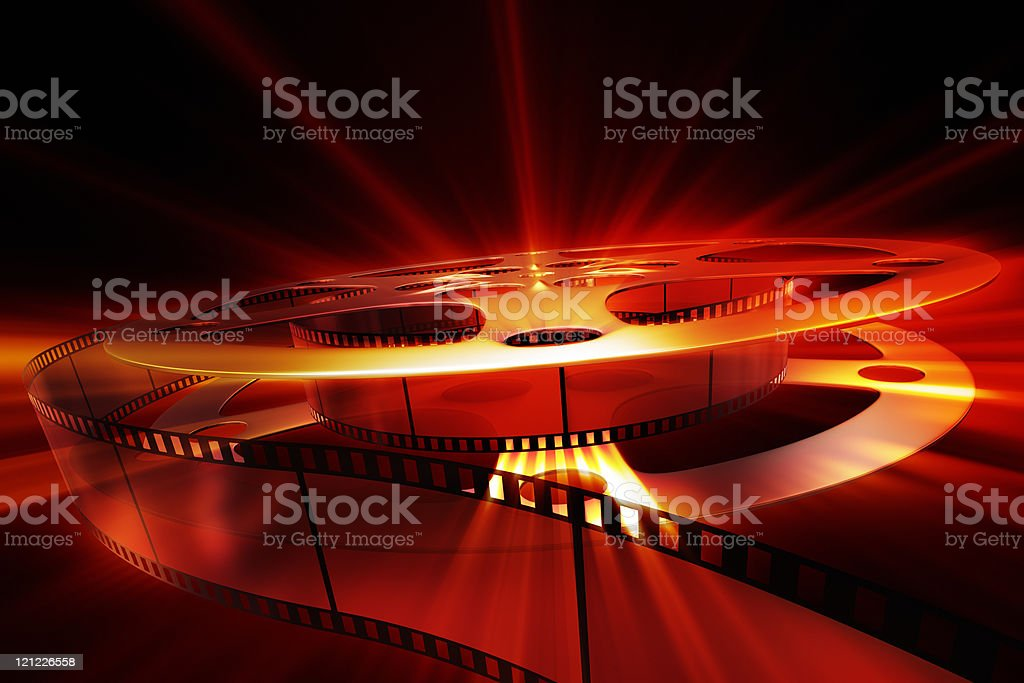 Film reel with shine. XXXL size background stock photo