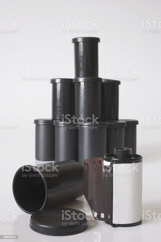 Film roll and containers royalty-free stock photo