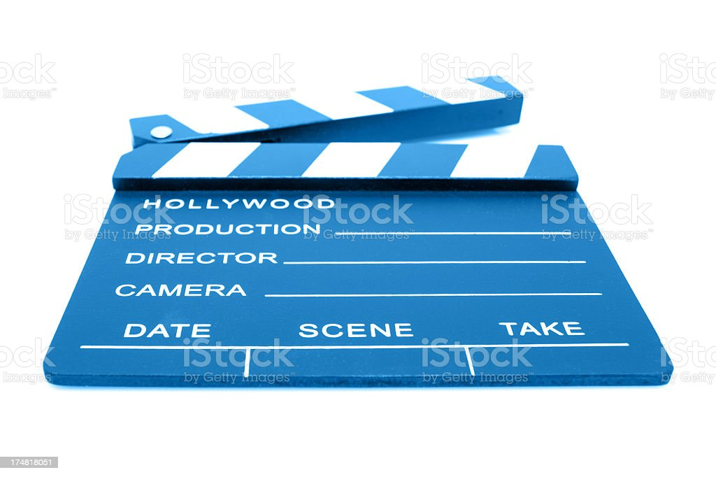Film Slate isolated on white background stock photo