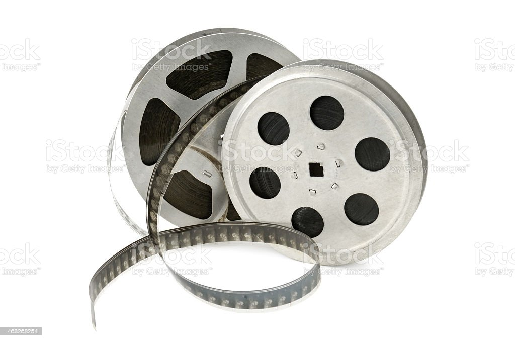 Film strip from two circular film holders stock photo