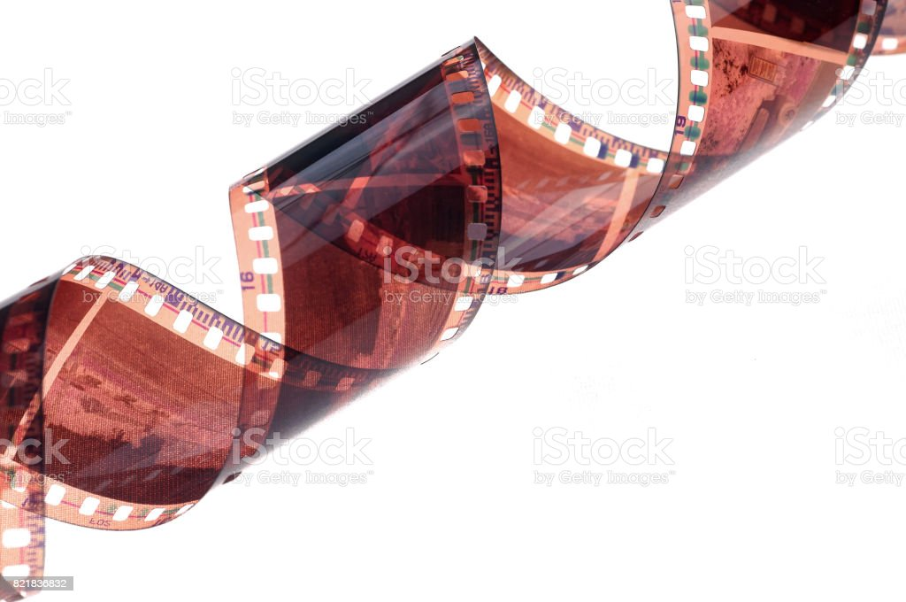 Film strip roll isolated on white background. stock photo