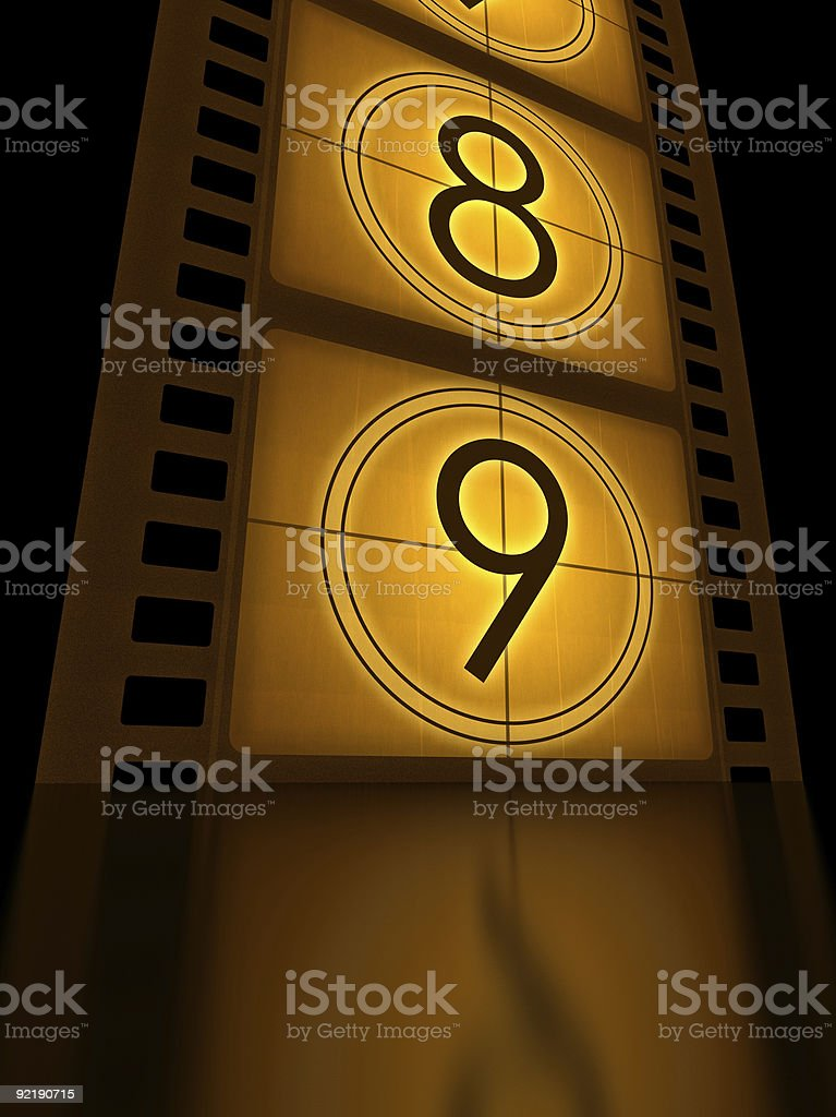 A film strip starting a countdown stock photo