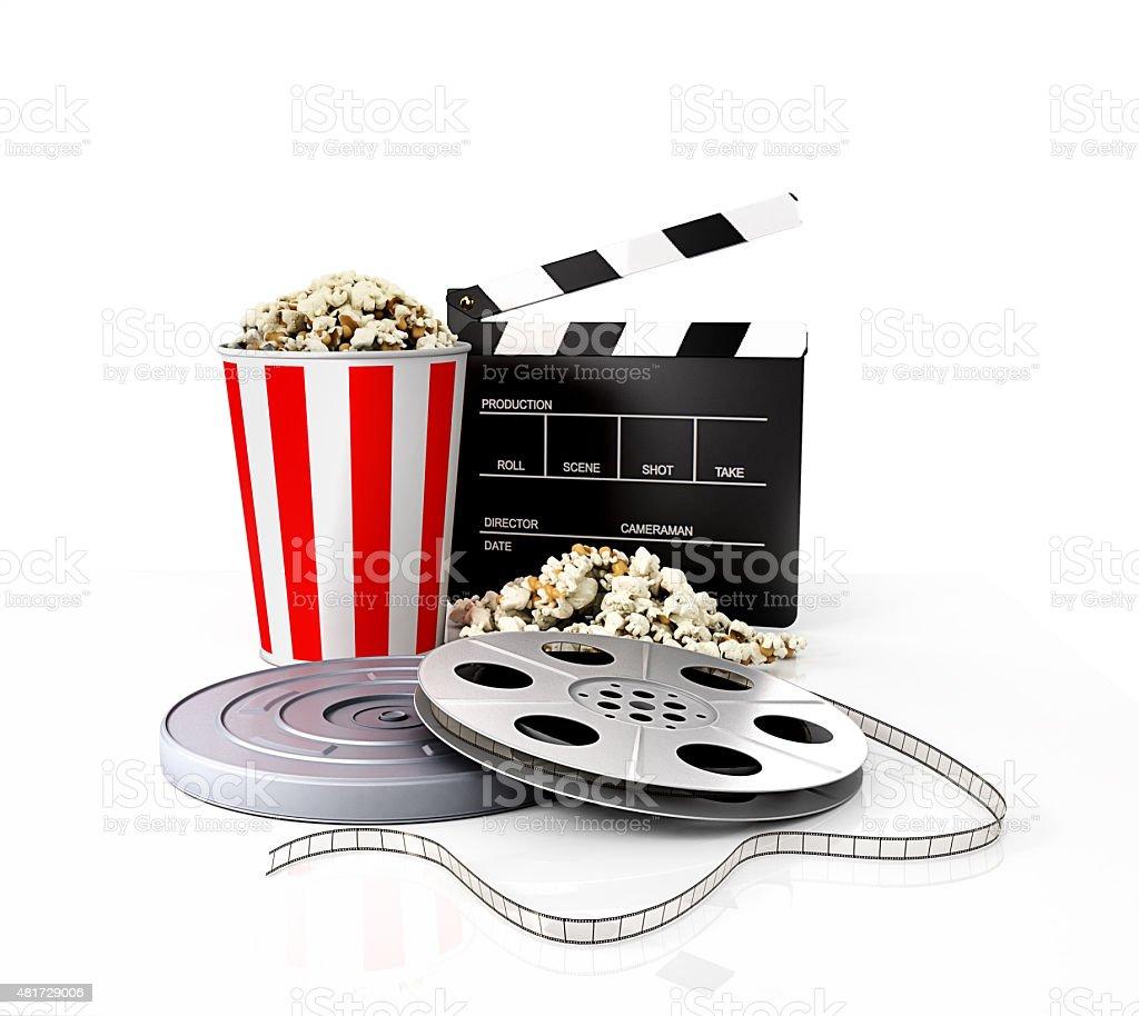 Film strip vs holder, clapper, popcorn stock photo