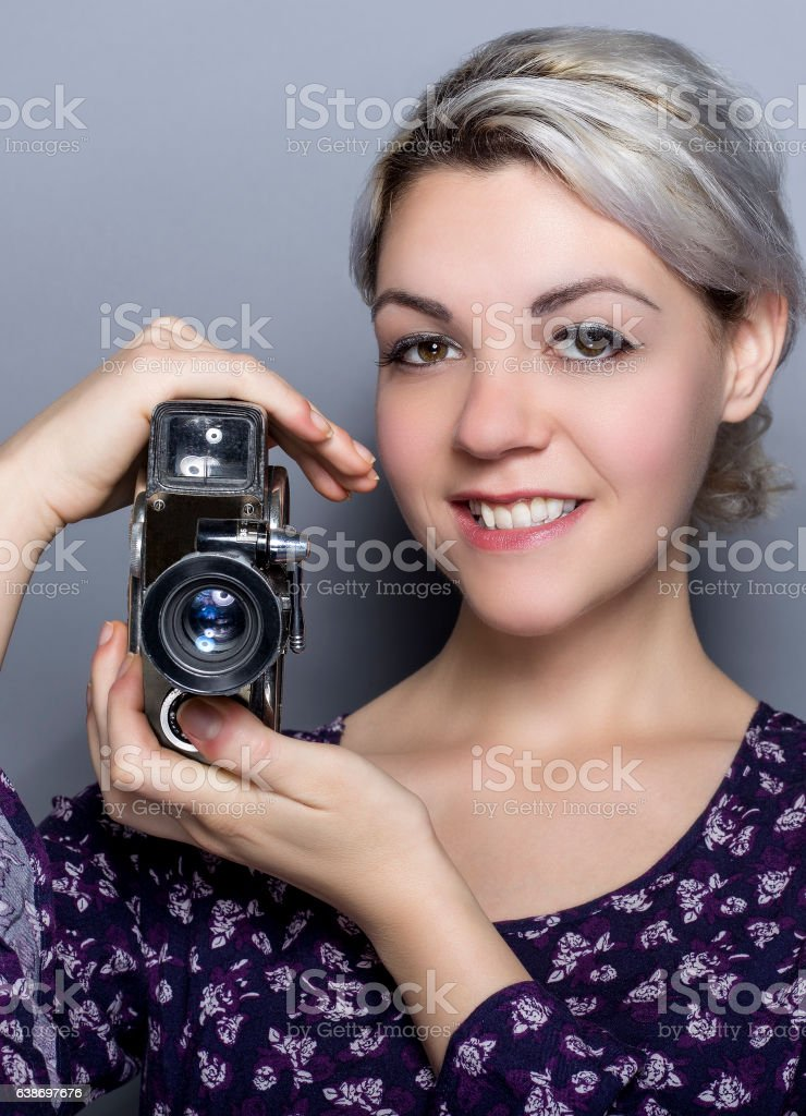 Film Student with a Classic Camera stock photo