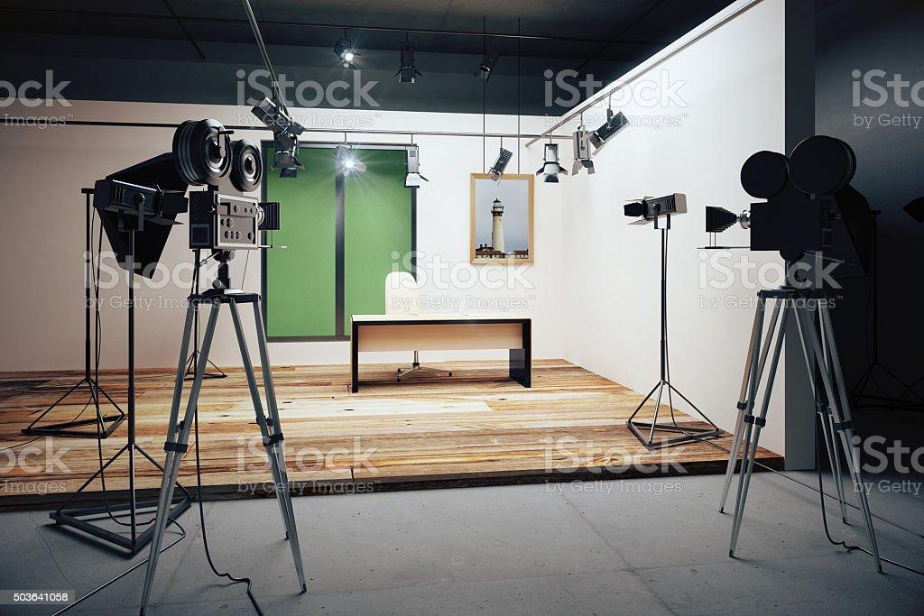 Film studio office decorations with vintage movie cameras stock photo