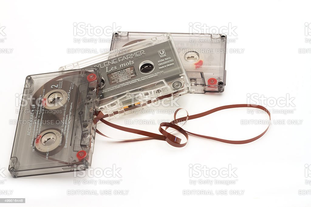 Film tape cassettes used for recording and playback of music. stock photo