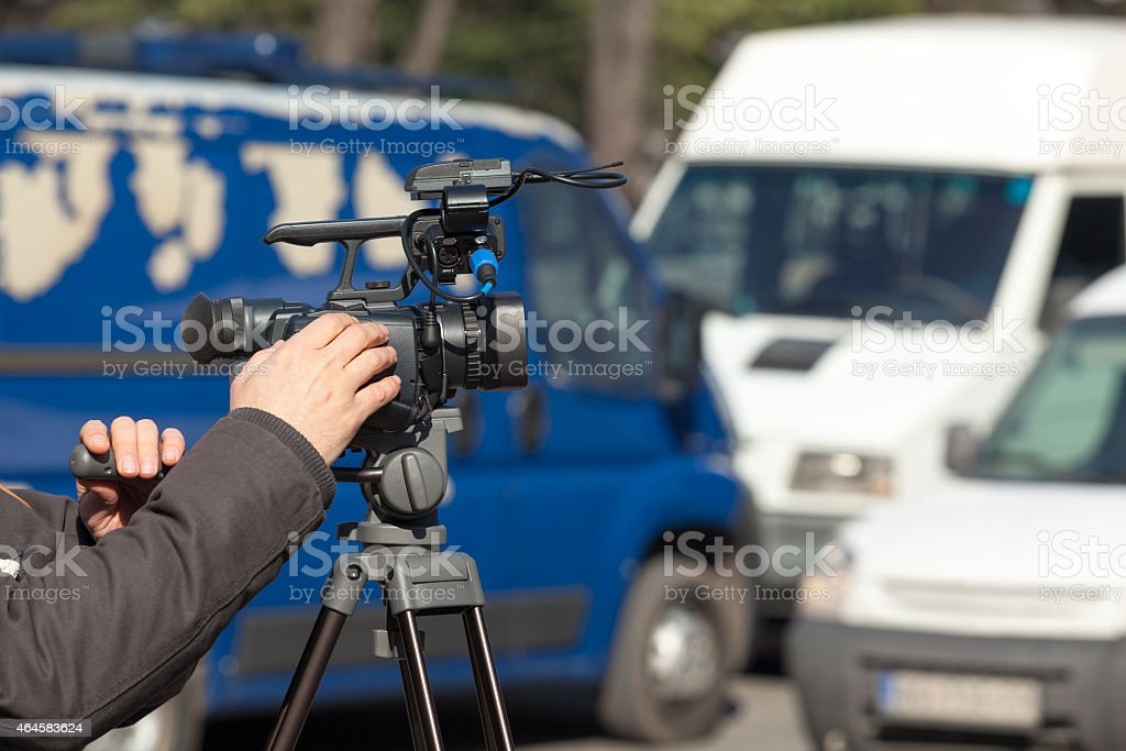 Filming a traffic jam stock photo