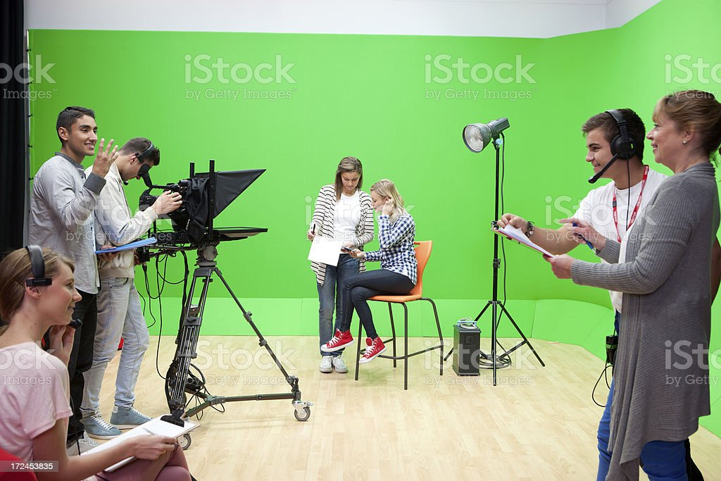Filming in a Studio stock photo