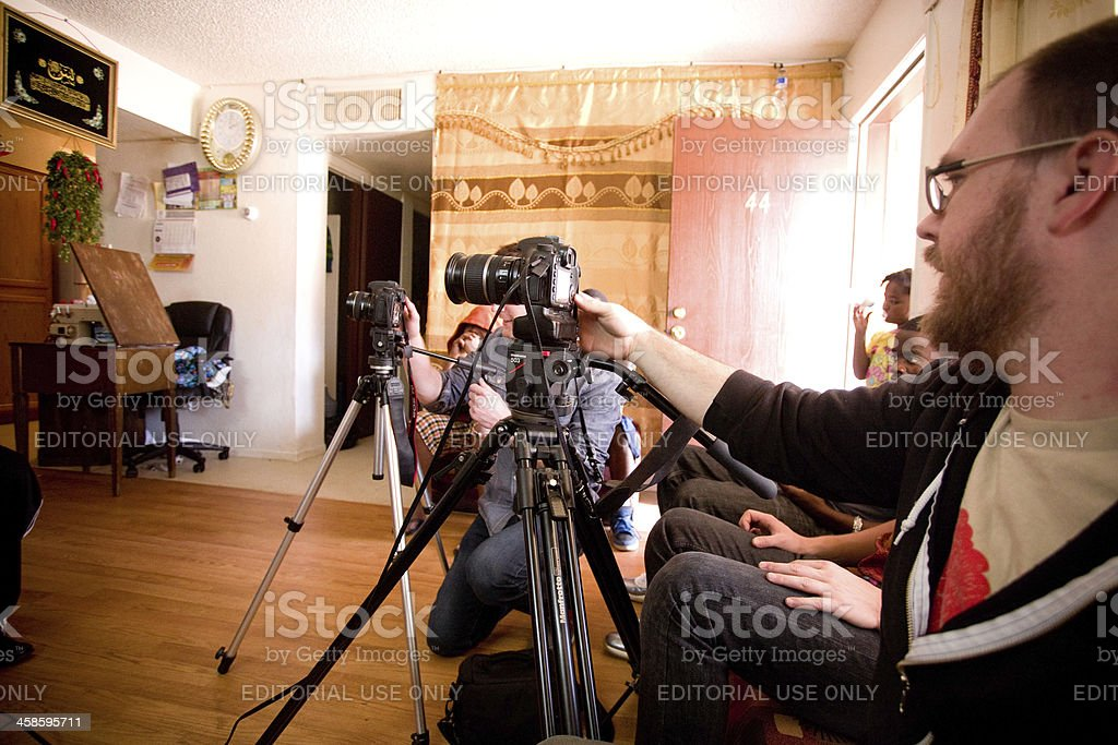 Filming Interview stock photo