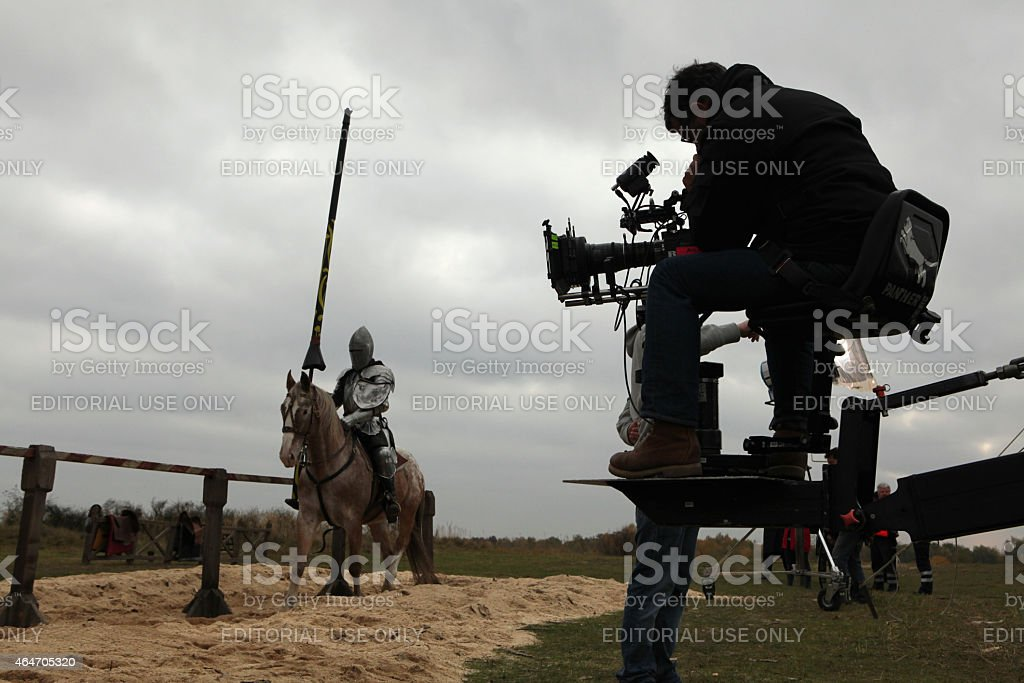 Filming of a new movie The Knights stock photo
