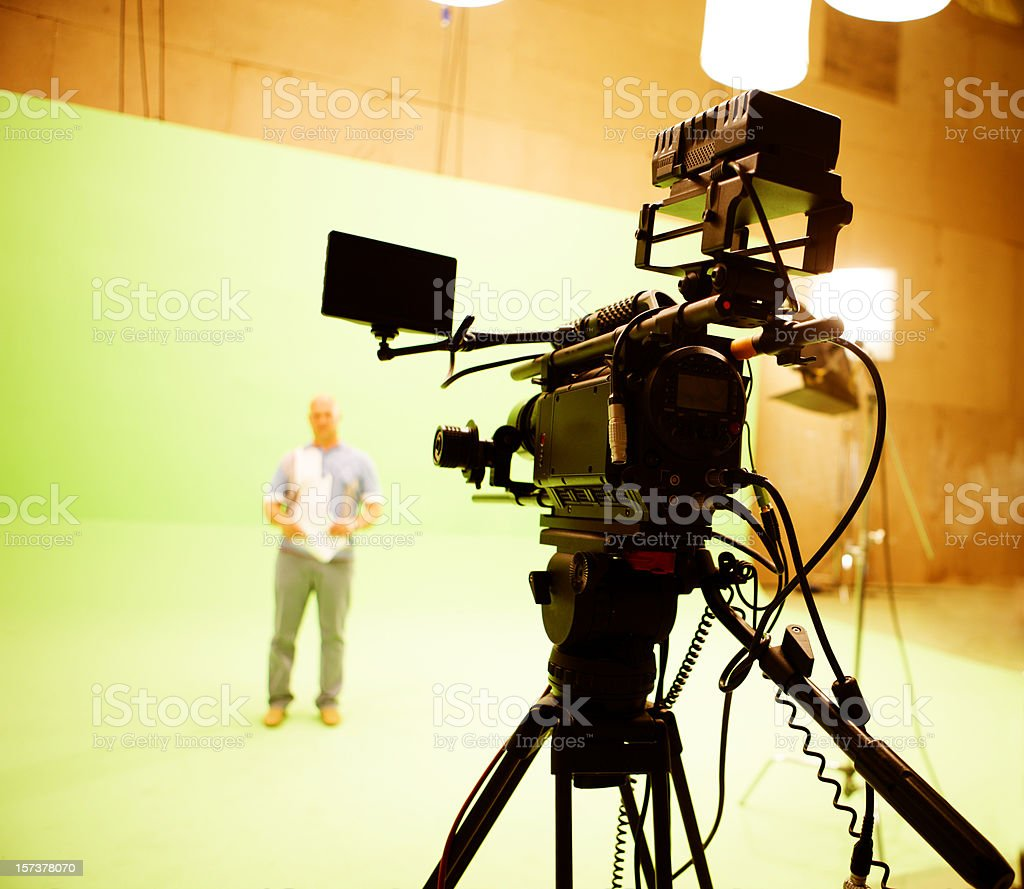 Filming on chromakey stock photo