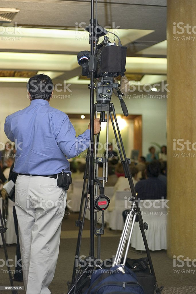 filming the conference royalty-free stock photo
