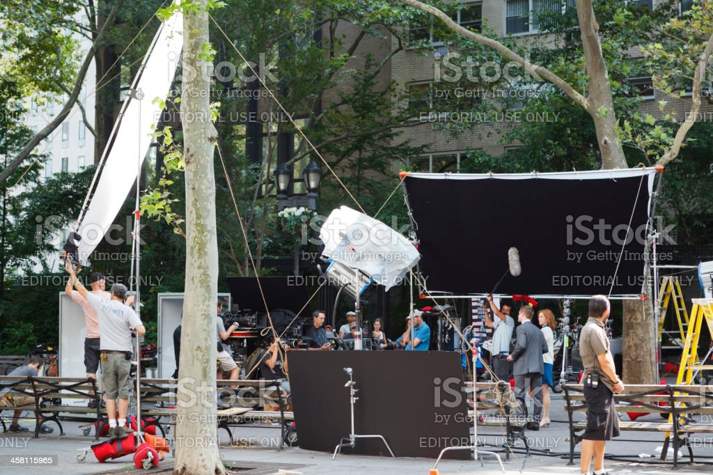 Filming TV Commercial New York City Street stock photo