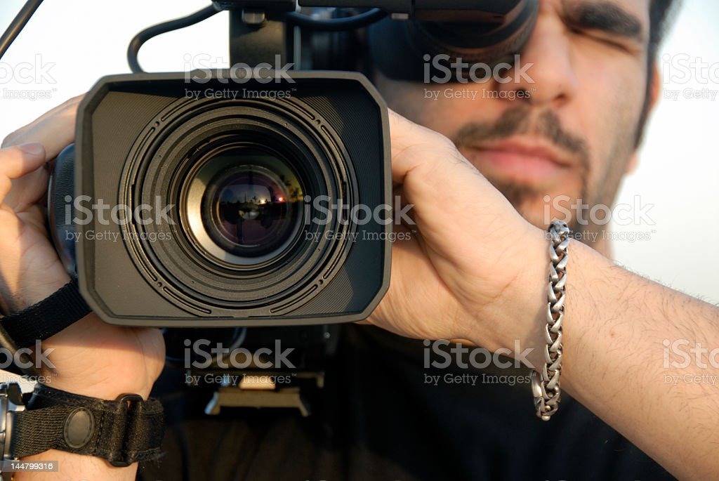 Filming with a professional camera stock photo