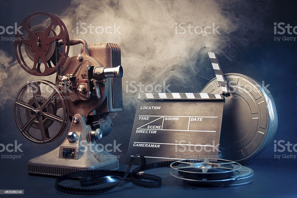Filmmaking concept scene with dramatic lighting stock photo