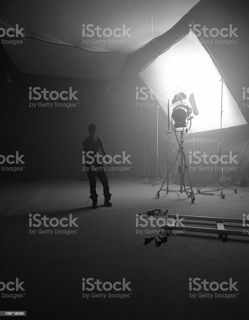 Film-making pavilion with actor stock photo