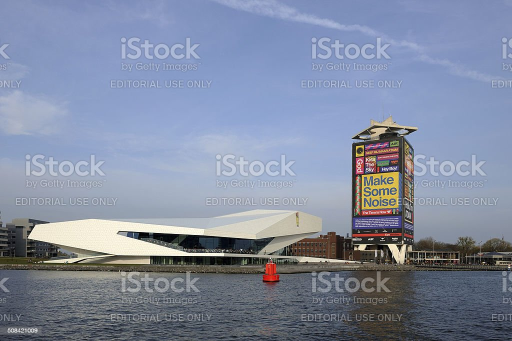 Filmmuseum Eye and office tower in Amsterdam stock photo