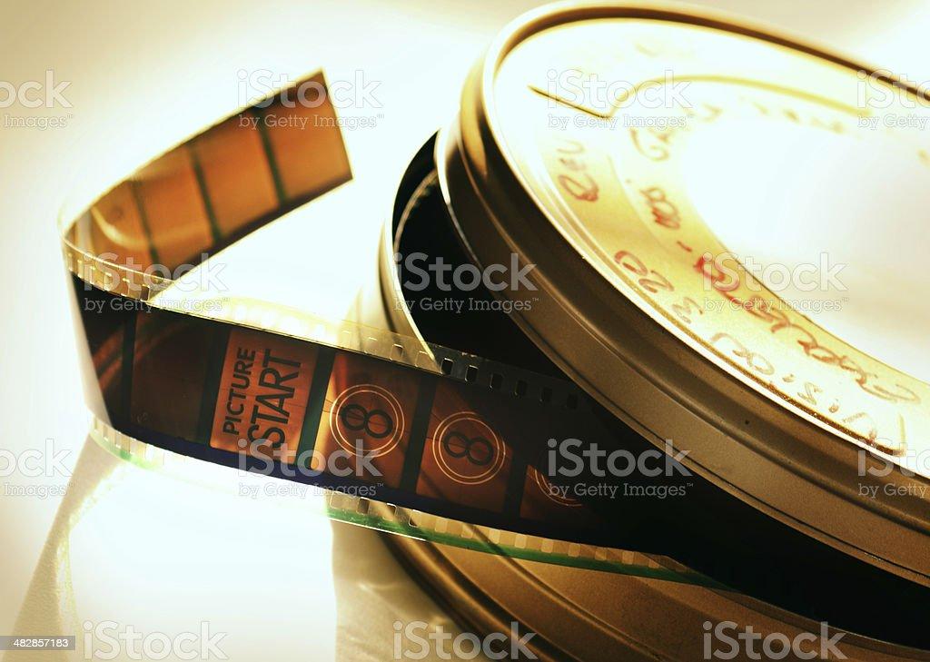 Filmstrip in film can stock photo