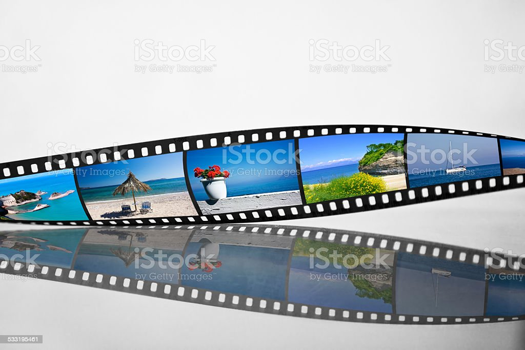 Filmstrip with vacation photos stock photo