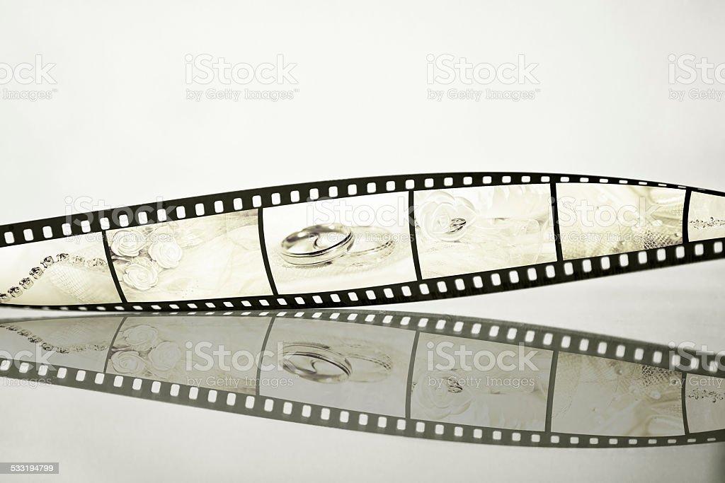Filmstrip with wedding photos stock photo