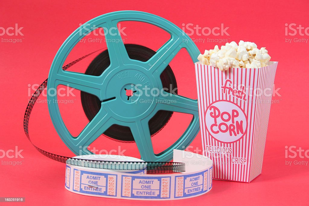 Filn reel popcorn and movie tickets stock photo
