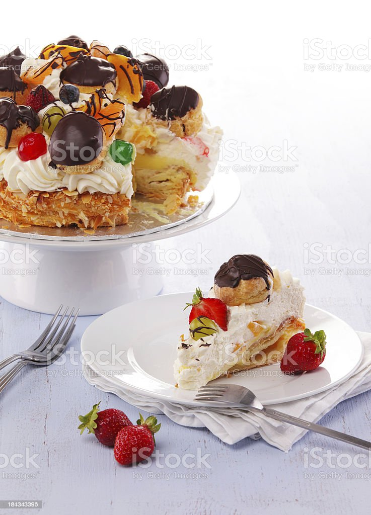 Filo fruit with fruits and whipped cream cake royalty-free stock photo